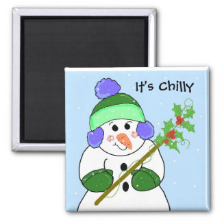 Snowman - It's Chilly Square Magnet