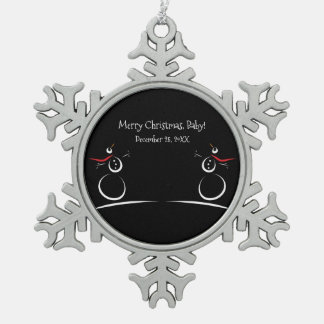 SNOWMAN JOY Baby's First Christmas Pewter Snowflake Decoration