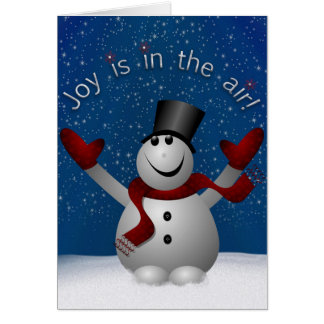 Snowman Joy is in the Air Holiday Greeting Card