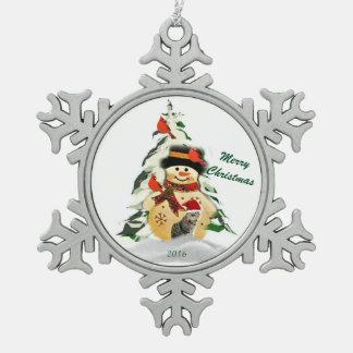 Snowman Keepsake Pewter Snowflake Ornament