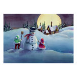 SNOWMAN & KIDS by SHARON SHARPE Poster