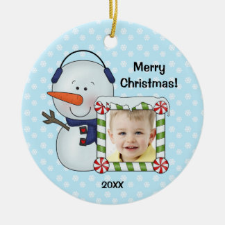 Snowman Kids Christmas Photo Personalized Christmas Ornament