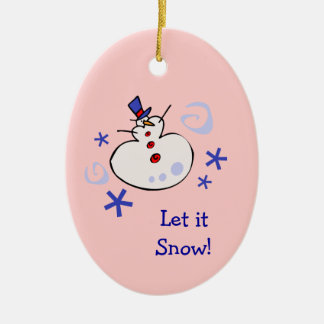 Snowman Kids Holiday Ceramic Oval Decoration