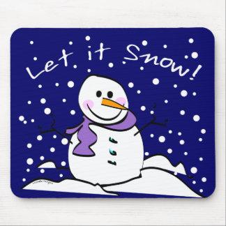 Snowman Let it Snow Mousepad