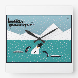 Snowman Lonely Monster Square Wall Clock