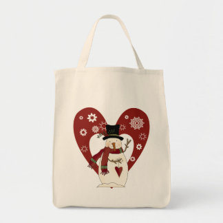 Snowman Loves Snow T-shirts and Gifts Grocery Tote Bag
