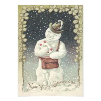 Snowman Mailman Letter Snow Shamrock 13 Cm X 18 Cm Invitation Card