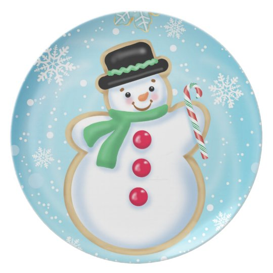 Snowman Melamine Plate