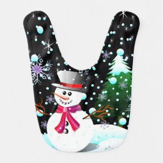 Snowman merry Christmas Baby Bib