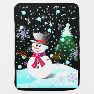 Snowman merry Christmas Baby Blankets