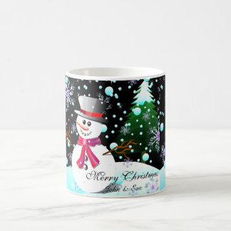 Snowman merry Christmas monogram Coffee Mug