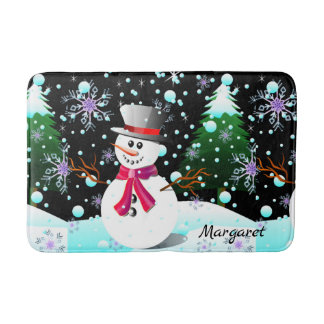 "Snowman ""Merry Christmas"" personalised Bath Mat"