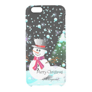 """Snowman """"Merry Christmas"""" personalised Clear iPhone 6/6S Case"""