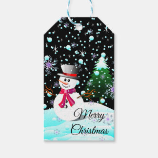 """Snowman """"Merry Christmas"""" personalised Gift Tags"""