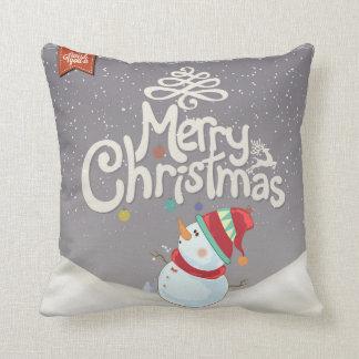 Snowman Merry Christmas Pillow