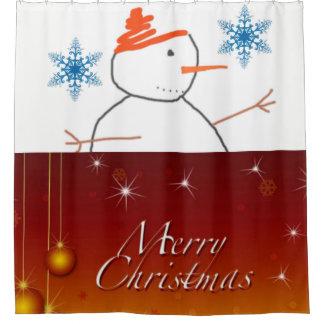 Snowman Merry Christmas shower curtain