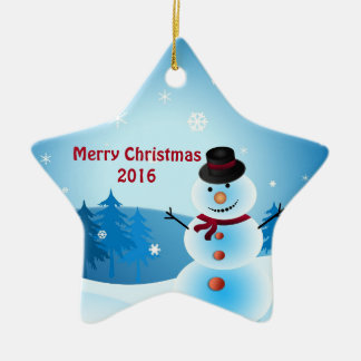 Snowman Merry Christmas Star-Shaped Ornament