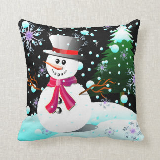 Snowman merry Christmas Throw Pillow