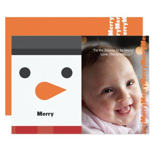 "Snowman ""Merry"" Illustration Holiday Photo Card"