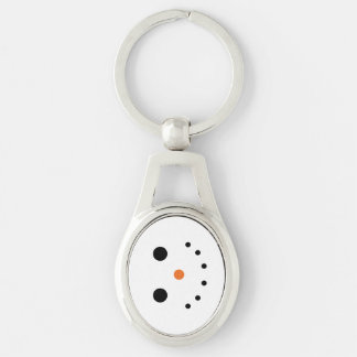 Snowman Metal Keychain Silver-Colored Oval Key Ring