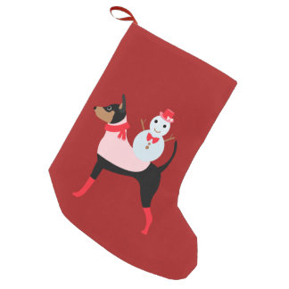 Snowman Min Pin Christmas Stocking