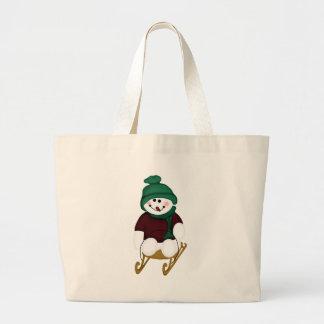 Snowman on a Sled Tote Bags