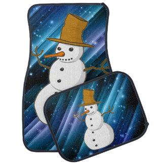 Snowman on Blue Sparkles Car Mat Set
