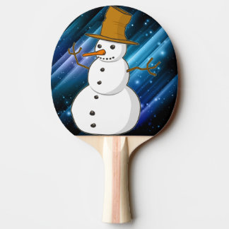 Snowman on Blue Sparkles Ping Pong Paddle