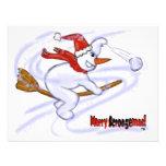 Snowman On Broom Personalised Invite