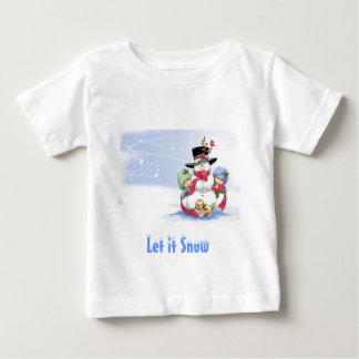Snowman on christmas scene baby T-Shirt