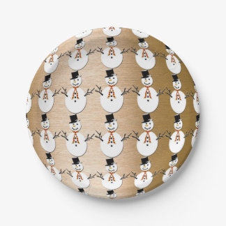 Snowman on Gold Paper Plate