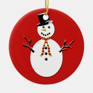 Snowman on Green and Red Christmas Ornament