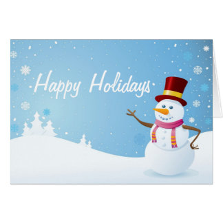 Snowman on Holiday Background Card