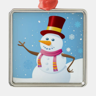 Snowman on Holiday Background Christmas Ornament