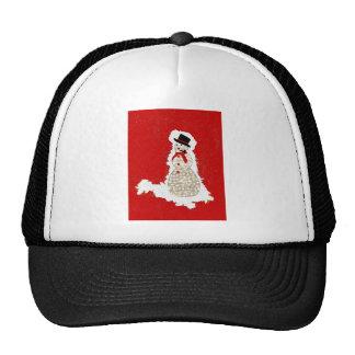 snowman on red trucker hat