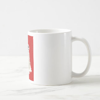 snowman on red coffee mug