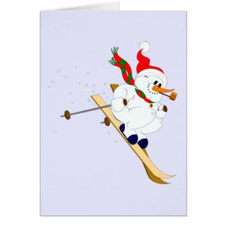 Snowman On Skis Custom Card