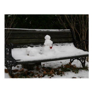 Snowman on the bench postcard