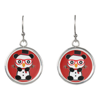 Snowman Panda Bear Earrings - Leon the Panda