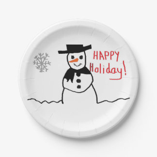 Snowman Paper Plate 7 Inch Paper Plate