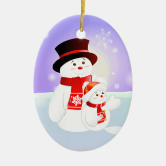 Snowman Parent & Child Christmas Ornament