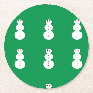 Snowman Pattern Round Paper Coaster