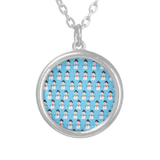 Snowman pattern silver plated necklace