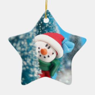 snowman peeking christmas ornament