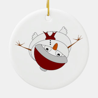 Snowman peering from below  Santa hat Double-Sided Ceramic Round Christmas Ornament