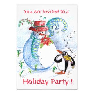 SNOWMAN, PENGUIN'S WINTER SERENADE HOLIDAY PARTY CARD