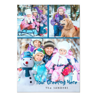 Snowman, Personal Greeting with Three Photos Card