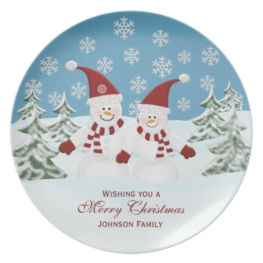 Snowman: Personalised Family: Christmas Plate