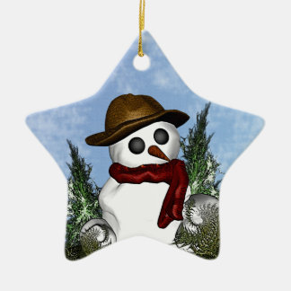 Snowman Personalized Star Ornament