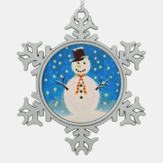 Snowman Pewter Snowflake Decoration